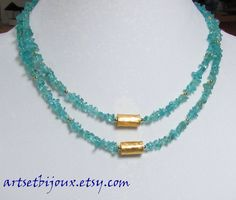 Apatite Necklace  Blue Green Apatite and Gold Double Strand Necklace by ArtsEtBijoux,