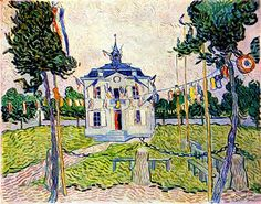 Auvers Town Hall in 14 July 1890 1890  Vincent van Gogh