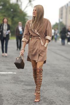 Serious sandals on Anna Dello Russo