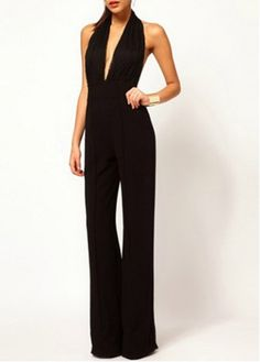 Charming Halter Design Solid Black Ankle Length Jumpsuit on sale only US$26.06 now, buy cheap Charming Halter Design Solid Black Ankle Length Jumpsuit at modlily.com