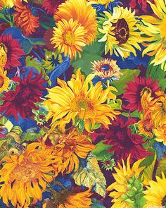 Flowers of the Sun - Painted Sunflowers - Multi