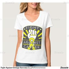 Show your fighting strength with our line of Fight Against Ewings Sarcoma shirts, apparel and gifts featuring a raised fist for strength and defiance with painted nails and a bold  awareness ribbon by GiftsforAwareness.Com #ewingssarcoma #cancerawareness #awareness