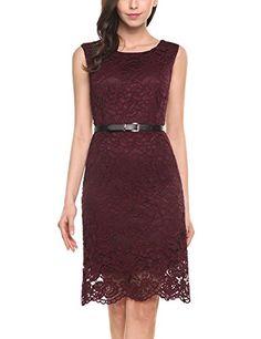 e3e3ea15be02 ANGVNS Damen Elegant Ärmellos Rückenfrei Spitzenkleid Etuikleid Festliches  Kleid Floral Sommer Kleid Cocktailk Party Rundhals Slim