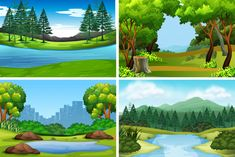 Set of nature backgrounds Free Vector | Free Vector #Freepik #freevector #freebackground #freetree #freewater #freewood