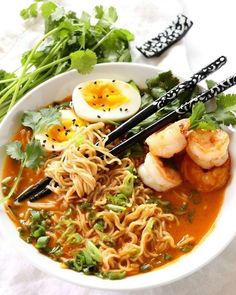 Red Curry Coconut Ramen is the perfect rainy day dish. This recipe is totally customizable based on your tastes. I love topping ramen with fresh bean spouts, cilantro, soft boiled eggs, shrimp and shiitakes. Ramen Noodle Recipes, Soup Recipes, Vegetarian Recipes, Dinner Recipes, Cooking Recipes, Healthy Recipes, Ramen Noodles, Asian Noodles, Thai Noodle Soups