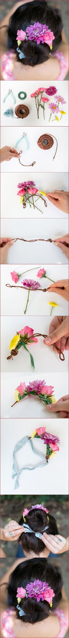 Idea: Use silk flowers to make this pretty little garland and turn it into a hair band, hair clip or necklace. :)