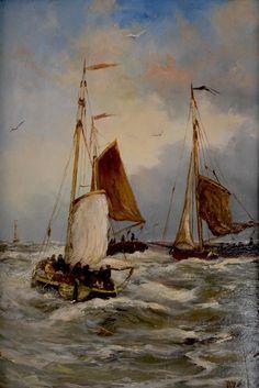 bomschuiten_met_bemanning Hendrik Willem Mesdag was de zeeschilder van de Haagse School. Op latere leeftijd koos hij pas voor het schildersvak. Na een tijdelijk verblijf in Oosterbeek en Brussel vestigde hijzich in 1869 in Den Haag. Hij werd direct geboeid door het strand, de zee en het leven van de Scheveningse vissers.
