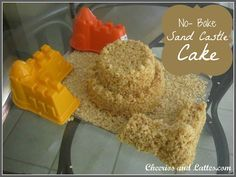 no bake rice crispy sand castle cake from cheerios and lattes