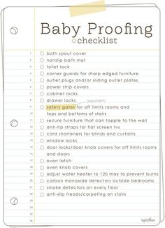 Baby proofing list