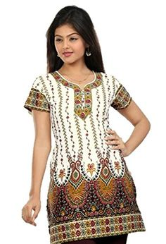Indian Tunic Top Womens / Kurti Printed Blouse tops - AZDKJD-27A Arras Creations http://www.amazon.com/dp/B00RR9SM02/ref=cm_sw_r_pi_dp_hMJ9ub0NATFEN