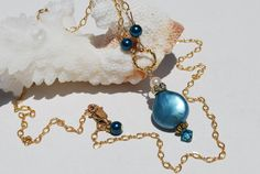 Teal Pearl Necklace Teal Coin Pearl Necklace by ornatetreasures, $48.80