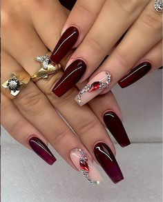 Color acrylic 78 Hottest Classy Acrylic Coffin Nails Long Designs For Summer Nail Color - Page 20 of 78 burgundy Classy Acrylic Coffin Nails Design, Coffin Nails Long Ideas, Sparkle Glitter Coffin Nails with Rhinestone, Gel Coffin Nails for Summer Nails, Burgundy Acrylic Nails, Burgundy Nail Designs, Sparkle Nail Designs, Shellac Nail Designs, Nails Design With Rhinestones, Sparkle Nails, Long Acrylic Nails, Bling Nails, Red Nails