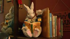 This is my White Rabbit. It was a yard statue that I transformed into my Alice book end Alice Book, Alice In Wonderland, Children Books, Display, Statue, Imagination, Cave, Rabbit, Painting