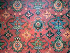 In the late 19th and early 20th centuries, linoleum was often designed to imitate more expensive materials like marble, tiles or parquetry. When Oriental or 'Eastern' style carpets became particularly fashionable in middle class homes in the early twentieth century, linoleum designs like this one soon appeared. This linoleum is fitted throughout the whole of Bedroom 3 and the adjacent Vestibule at Rouse Hill estate. Historic Houses Trust of New South Wales, Rouse Hill estate Collection. Floor Cloth, Ancient Aliens, Museum Collection, Picture Collection, Historic Homes, Furniture Decor, Parquetry, Marble Tiles, Bohemian Rug