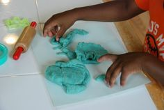 Blueberry Playdough! -- Blueberries for Sal unit ideas for Preschool - 1st grade.  Cooking, counting, pre-writing and MORE!