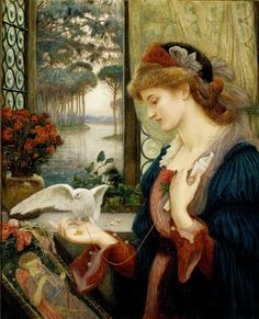 'Loves Messenger' painted by Marie Spartali Stillman in 1885. It features a dove which has carried a love letter to a woman wearing a red rose who stands in front of an open window, and who has put down her embroidery of a blind-folded Cupid.