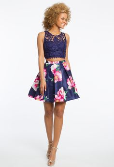 Lace Crop Top and Floral Skirt Two-Piece Dress #camillelavie #CLVprom