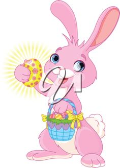 iCLIPART - Cartoon Clip Art Illustration of a Cute Easter Bunny holding an Easter Egg