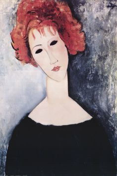Art Print: Redhead Art Print by Amedeo Modigliani by Amedeo Modigliani : Amedeo Modigliani, Redhead Art, Italian Painters, Oil Painting Reproductions, Stretched Canvas Prints, Female Art, Fine Art Prints, Paris, Paintings