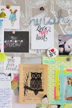 Love seeing the lime green Hambly paper on this mood board from Decor8