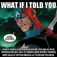 """This proves once and for all that the biggest catalyst of changes in the arts is politics. Marvel has been doing a steady job """"modernizing"""" their characters to """"match"""" the real world. Notably starting with the marriage of Colossus and Northstar to making Sam Wilson become Captain America and Jane Foster as Thor. There's no coincidences for any of those events. I personally see Sam Wilson's Captain America as an allegory to the United States's current president Barack Hussein Obama. Look at…"""