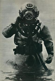 A vintage pic of an old time deep sea diver emerging from the briny depth. All of our prints are beautifully rendered on 13 by 19 professional heavyweight matte photo paper. All images are printed exa