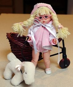 """Wendy's Goin'to The Beach in Pale Pink Stripe! Sunsuit, Coat, Glasses for 8""""Ginny Doll. Fits Muffie, MADAME ALEXANDER, Ginger 8"""" dolls. Its new! on eBay now. karmel*apples user id. Double click pix to take u there! This is my new favorite one..."""