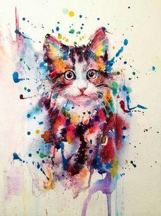 Arte-art/dibujo en aguadas - gatos. Cat #CatWatercolor