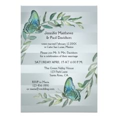 Post or after wedding invitation with botanical watercolor leaves and butterflies on a silver and pale blue grey striped background - for an elope or reception only celebration