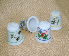 Vintage Porcelain Thimbles, Floral Patterns
