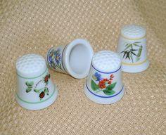 Vintage Porcelain Thimbles, Floral Patterns