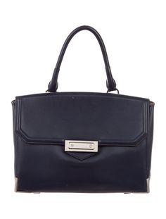 Navy leather Alexander Wang Prisma Skeletal Marion bag with silver-tone hardware, flat shoulder strap, grey suede lining, single zip pocket at interior all and push-lock closure at front flap. Includes tags and dust bag. Shop authentic designer handbags by Alexander Wang at The RealReal.