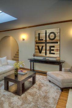 Love Brown Distressed Wood Wall Art