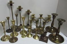 Vintage Lot Brass Candlestick Candle Holders Patina Wedding Home Decor Brass Candle Holders, Candlesticks, Wind Chimes, Outdoor Decor, Modern, Wedding, Vintage, Home Decor, Candle Holders