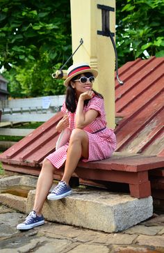 Blue Converse, gingham dress and boater hat