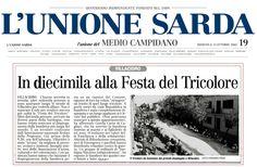 """L'Unione Sarda. 13 ottobre 2002. Gian Paolo Pusceddu. """"In diecimila alla Festa del Tricolore""""."""
