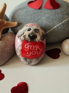 Painted rock easter bunny pattern goddaughter gifts rabbit pattern hand painted rock cardiac beloved dog picture painted stone love dog sign saint valentine gift valentines negle Gallery