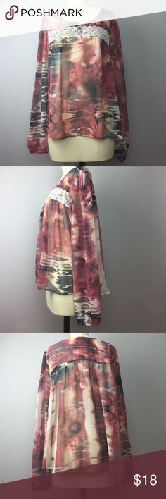 """Daytrip Sheer Bohemian L/S Top L Gorgeous sheer top great for layering over a Cami or solid maxi dress. Elastic at the wrists. Bust is 42"""". Length 24"""". Beautiful flowy fit! 100% polyester. A844 Daytrip Tops Blouses"""