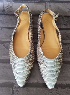 5255377e1c0 Stuart Weitzman Minnie Slingback Flat Shoes Womens sz 8.5 Embossed Leather  Blue