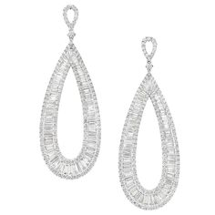 Pair of White Gold and Diamond Hoop Pendant-Earrings