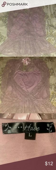 Adorable lace top with tank top This cute lace top comes with a tank top,is stretchy at the waist.excellent condition. Soft pink color have Tops Crop Tops
