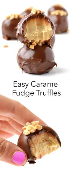 The easiest, most delicious Caramel Fudge Truffles made in the microwave! These easy chocolate-covered truffles are the most amazing dessert. Recipe on sweetestmenu.com #truffles #caramel #fudge #chocolate
