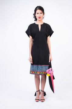 Kimono dress with Hmong trim