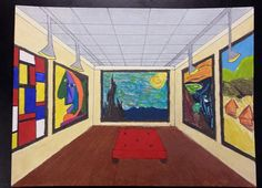 One point perspective museum interior. art teacher michele l Perspective Room, One Point Perspective, Perspective Drawing, 7th Grade Art, Middle School Art Projects, Art Education Projects, Art Drawings For Kids, Art Lessons Elementary, Elements Of Art