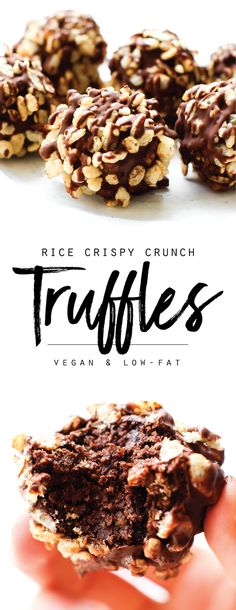 Rice Crispy Crunch Chocolate Truffles | Chewy meet crispy meets so very chocolatey in one decadent dessert bite. These Rice Crispy Crunch Truffles are vegan, simple to make, and healthier than they look!