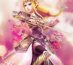 Princess Zelda...maybe from Hyrule Warriors? Don't take my word for it, though!