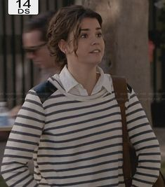 Callie's striped long sleeve top with leather shoulders on The Fosters.  Outfit Details: http://wornontv.net/27872/ #TheFosters