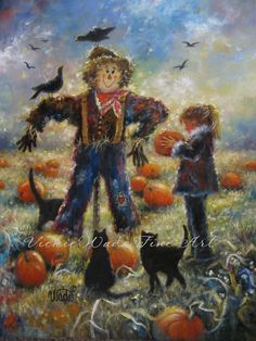 Pumpkin Patch Print, pumpkin paintings, scarecrow paintings, autumn, black cats, halloween, fall, farm paintings, Vickie Wade Art.