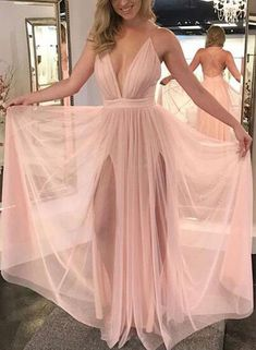 Charming Prom Dress, Sexy Pink Prom Dresses, Deep