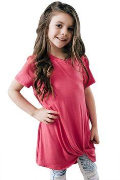 Girls Rose Pink Short Sleeve Tops